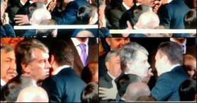 Yanukovych and Yushchenko Solemnly Kissing Each Other on National Unity Day. PHOTOS