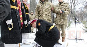 Capsule of future monument to Ivan Bohun laid in territory of Kyiv military lyceum. PHOTOS