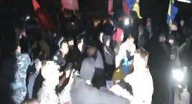 Communists and Ukrainian Insurgent Army March Participants Fight in Lugansk Oblast. VIDEO