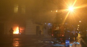 Extensive fire broke out in Lviv branch of Russian Sberbank at night. PHOTOS