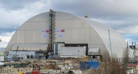 Arch over Chornobyl`s reactor 4 reached resting place. PHOTOS+VIDEO