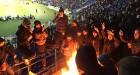 Ukrainian football fans burn Serbian flags at game in Kharkiv. PHOTOS