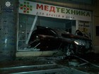 Drunk Mercedes driver crashed storefront in Odesa while fleeing from police. PHOTOS