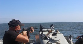Sea guards performed on-board firing drills near Mariupol. PHOTOS